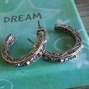 Sterling and crystal hoop earrings